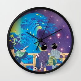 Hokusai People & Big Wave in Universe Wall Clock