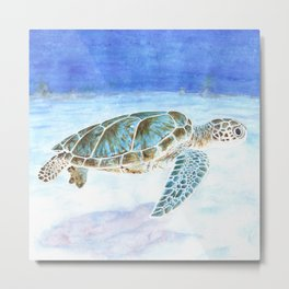 Sea turtle underwater Metal Print