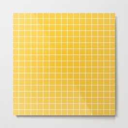 Sunglow - yellow color -  White Lines Grid Pattern Metal Print
