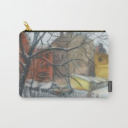 Courtyard in Saint Petersburg, Winter Cityscape Pastel Painting Carry-All Pouch