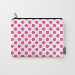 Pink polkadots dots circles on white background Carry-All Pouch