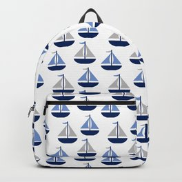Nautical Sailboat Navy Blue Gray  Backpack