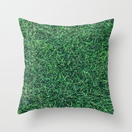 Green Grassy Texture // Real Grass Turf Textured Accent Photograph for Natural Earth Vibe Throw Pillow