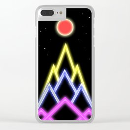 Neon Red Moon Clear iPhone Case