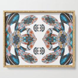 Pacific Northwest Coat Native Inspired Sacred Geometric Frog Print Serving Tray