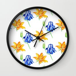 Columbine and Lily Hand Painted Diagonally Repeating Floral Pattern Wall Clock