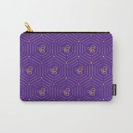 Gold geometric Ek Onkar / Ik Onkar  pattern on violet Carry-All Pouch