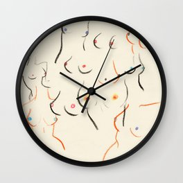 Breasts in Cream Wall Clock