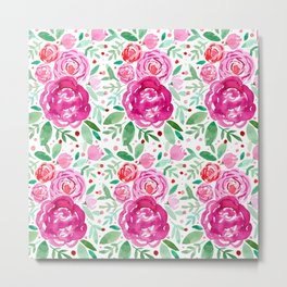 Watercolor roses bouquet - pink and green Metal Print