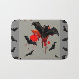 GREY ART OF FLYING BLACK BATS BLOODY  HALLOWEEN PARTY Bath Mat