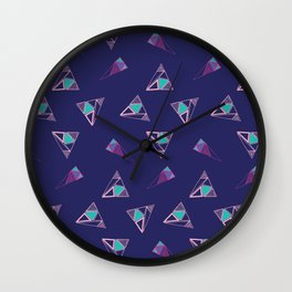 Funky Triangles (Blue) Wall Clock