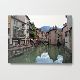 Canal in morning, Annecy, France Metal Print