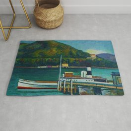 Jetty on Lake Iseo, Lombardy, Italy landsapce painting by Piero Marussig Rug