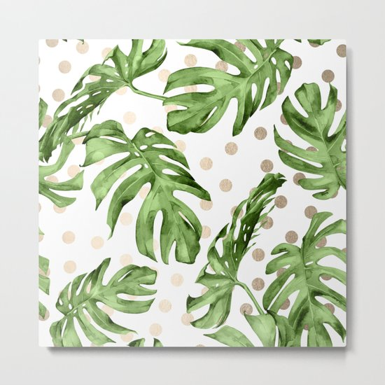 Simply Tropical White Gold Sands Dots and Palm Leaves Metal Print