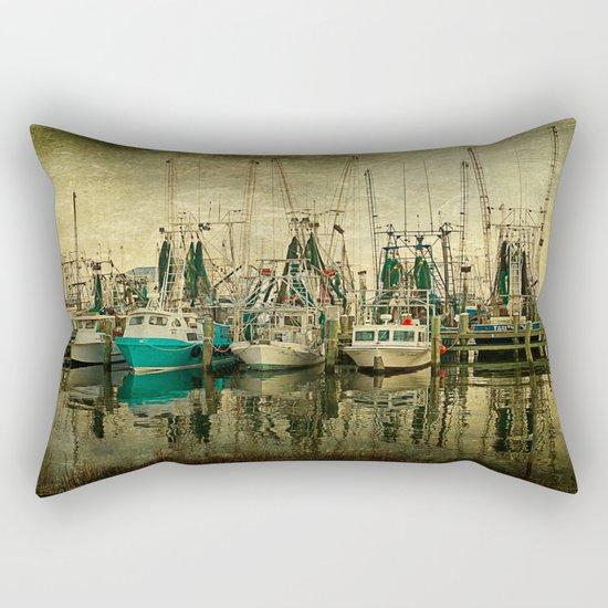 Shrimp Boat Lineup Rectangular Pillow