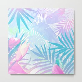 Pastel Rainbow Tropical Paradise Design Metal Print