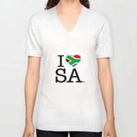 south africa V-neck T-shirts featuring I LOVE SOUTH AFRICA by ROGUE AFRICA
