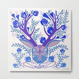 Floral Antlers – Blue Palette Metal Print