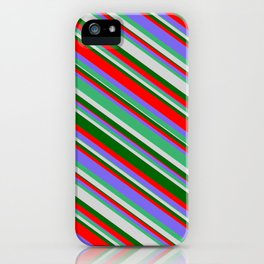 Vibrant Sea Green, Light Gray, Dark Green, Red & Medium Slate Blue Colored Lines/Stripes Pattern iPhone Case