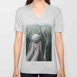Girl  standing by a mountain Digital Art Painting Unisex V-Neck