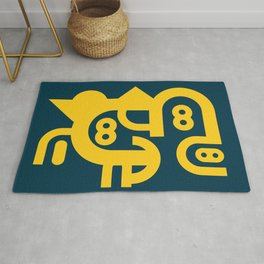 Abstract Geometric Constructivist  Art Yellow and Blue Turquoise  Rug
