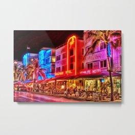 Nighttime South Beach Starlite & Colony Hotels Miami landscape by Jeanpaul Ferro Metal Print