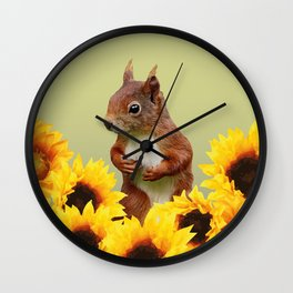 Squirrel in Sunflower Blossoms Field Wall Clock