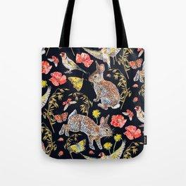 Bunny Meadow Pattern - Dark Tote Bag