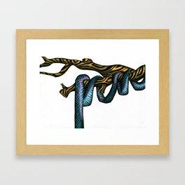 Blue Snake in Golden Tree  Framed Art Print