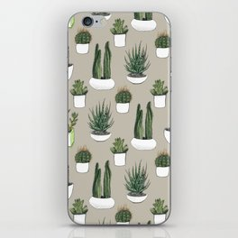 Watercolour cacti & succulents - Beige iPhone Skin