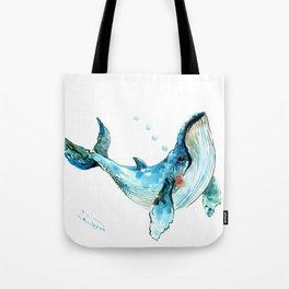 Humpback Whale Artwork Children Illustration Cute little Whale, whale design Tote Bag