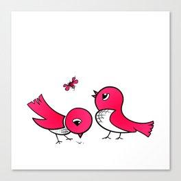 Cute little birds Canvas Print