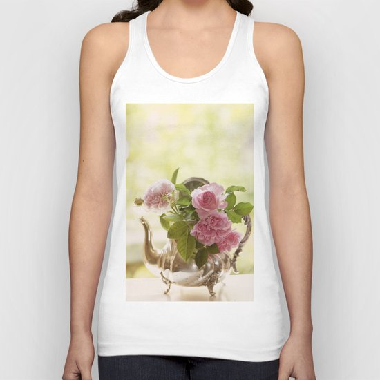 Pink English Roses in a silver Pot- Vintage Rose Stilllife Photography Unisex Tank Top