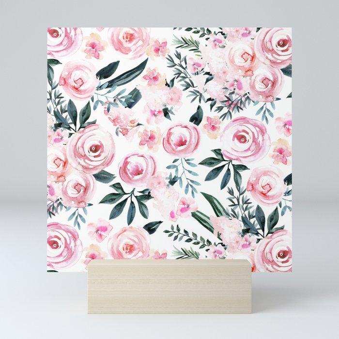 Floral Rose Watercolor Flower Pattern Mini Art Print