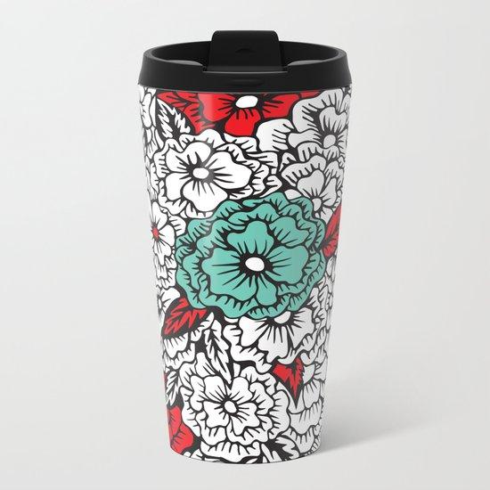 retro flowers Metal Travel Mug