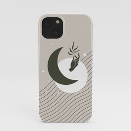 Moon Phases Abstract in Warm Grey and Black iPhone Case