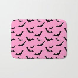 Black Bat Pattern on Pink Bath Mat