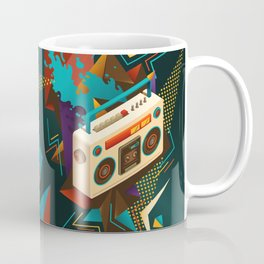 Bust Out The Jams Retro 80s Boombox Splash Coffee Mug