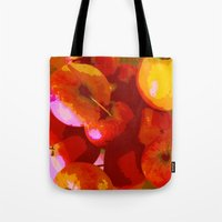 apple Tote Bags featuring Apple by Mr and Mrs Quirynen
