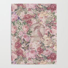 Romantic Flower Pattern And Birdcage Poster