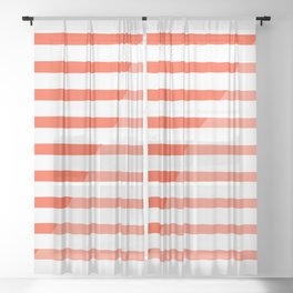 Beach Stripes Red Pink Sheer Curtain