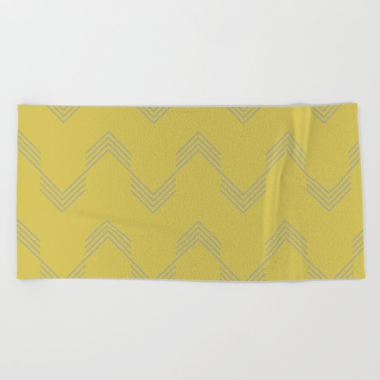 Simply Deconstructed Chevron Retro Gray on Mod Yellow Beach Towel