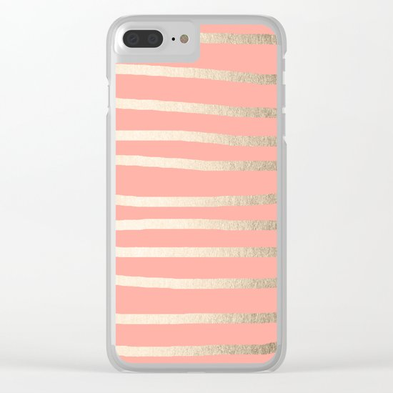 Simply Drawn Stripes in White Gold Sands and Salmon Pink Clear iPhone Case