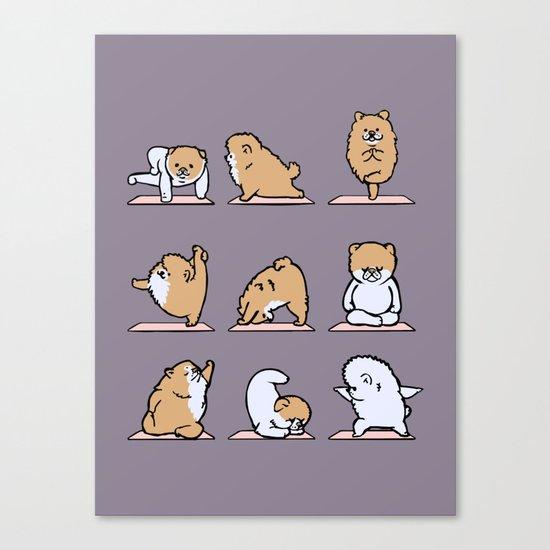 Pomeranian yoga Canvas Print