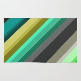 green brown yellow grey stripes Rug