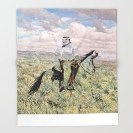 The Unknown Rider in Death Rides The Pecos Throw Blanket