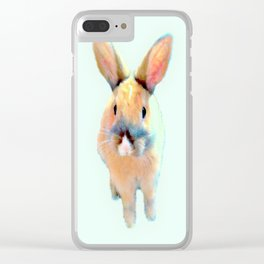 Cute Beige Blue Pastel Bunnys Clear iPhone Case