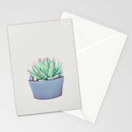 Small Potted Succulent with Crystals Stationery Cards
