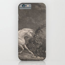George Stubbs A Horse Affrighted by a Lion Black and White Vintage Ink Illustaration Fantasy Art iPhone Case
