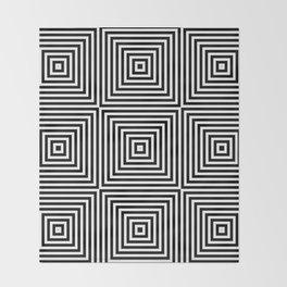 Square Optical Illusion Black And White Throw Blanket